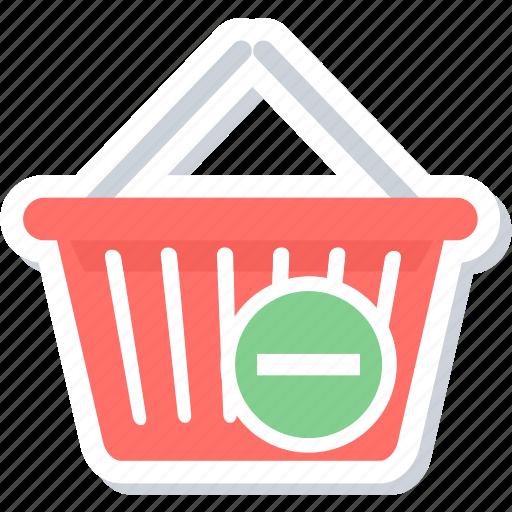 basket, cart, delete, remove, remove from basket icon