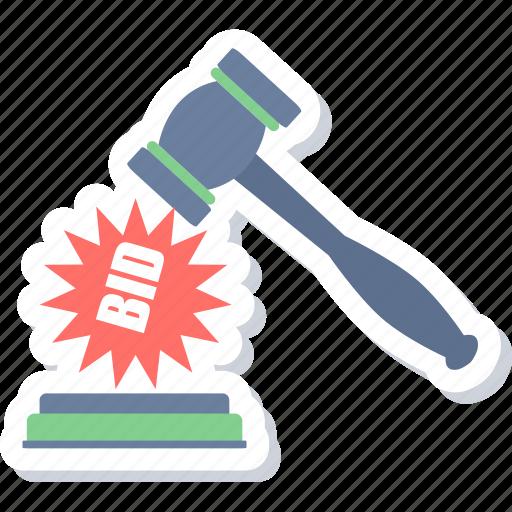 auction, bid, decision, hammer, sold icon
