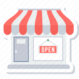 open, open shop, opening hours, shop, shop open, store, store open icon