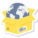 delivery, global, shopping, box, earth, international, worldwide delivery