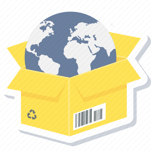 box, delivery, earth, global, international, shopping, worldwide delivery icon