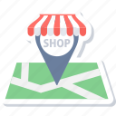 gps, location, map, navigation, shop, shop address, shop location icon