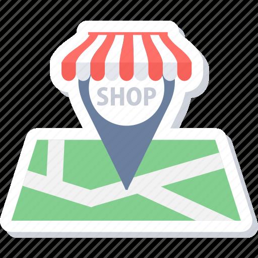 gps, location, map, navigation, shop, shop address, shop location icon