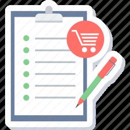 checklist, clipboard, ecommerce, item, list, shop, shopping list icon