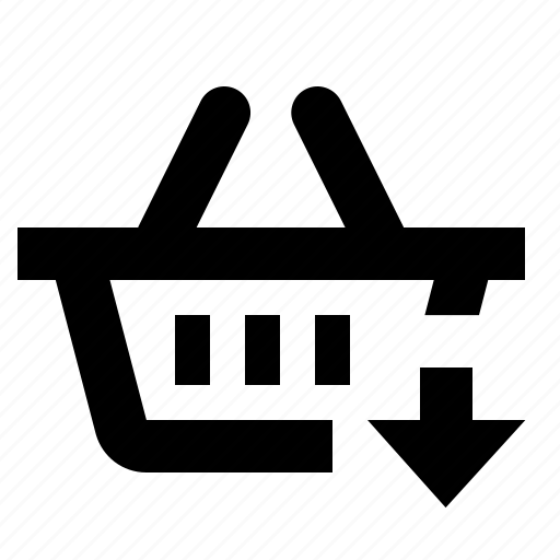 basket, business, cart, down, ecommerce, shopping icon