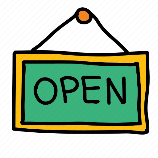 door sign, open, opening, shopping, sign icon