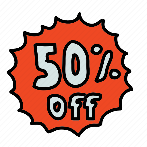 discount, fifty, off, sale, shopping icon