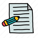 document, edit, file, mail, write icon