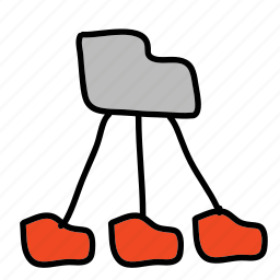 connected, folders, network icon