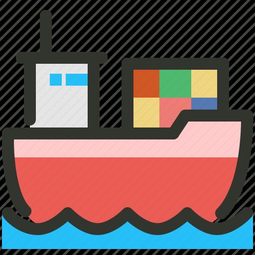 boat, cargo, logistics, ship icon