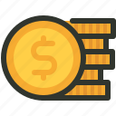coin, dollar, finance, stack icon