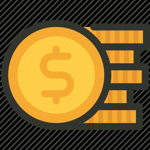 coin, dollar, finance, stack icon