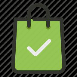 bag, shopping, success, tick icon