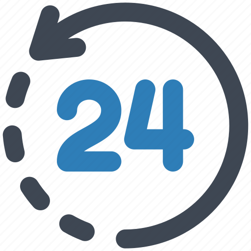 24, hours, support icon