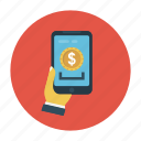 dollar, mobile, online, pay, shopping icon