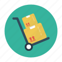 box, carton, delivery, shipping, trolley icon