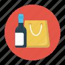 alcohol, bag, bottle, shopping, wine