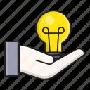 bulb, creative, hand, idea, innovation