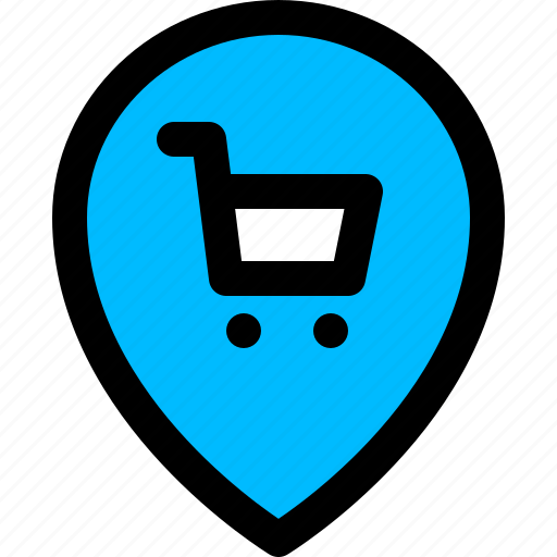 location, pin, shop, trolley icon