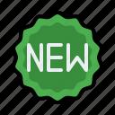badge, e commerce, label, new, shopping icon