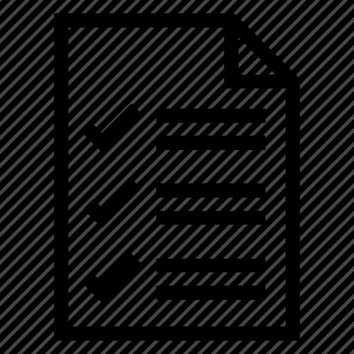 checklist, checkmark, document, list, mark, ok, tick icon