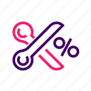cut, discount, offer, scissors, voucher icon