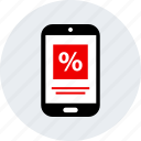 ecommerce, mobile, online, percent, shop, shopping icon