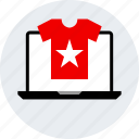 ecommerce, online, shirt, shop, shopping, star icon