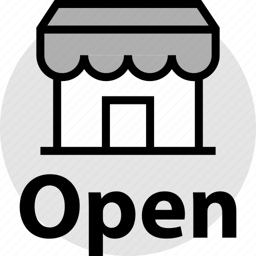 merchandise, open, sign, store icon