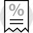 percent, percentage, receipt, sale icon