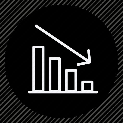 analytics, discrease, finance, graph, money, shop, shopping icon