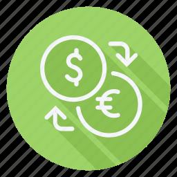 currency, dollar, euro, finance, money, shop, shopping icon