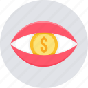 bank, eye, money, view, vision icon