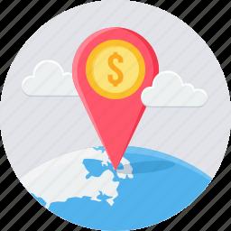 bank location, gps, location, map, navigation icon