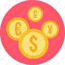 currency, dollar, euro, sign, yen icon