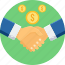 agreement, business, finance, financial, hand shake icon