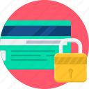 card, credit, debit, lock, password, safe, security icon