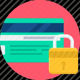card, credit, debit, lock, password, safe, security icon