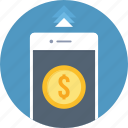 dollar, finance, mobile, money, payment, phone, smartphone icon