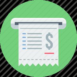 bill, invoice, money, receipt icon
