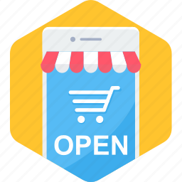 cart, ecommerce, mobile, open, shop, shopping, smartphone icon