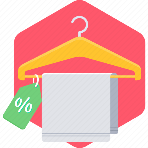 cloth, hanger, label, percentage, sign, tag, towel icon
