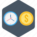 business, money, time, time is money icon