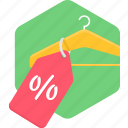 hanger, label, percentage, sale, shopping, tag icon