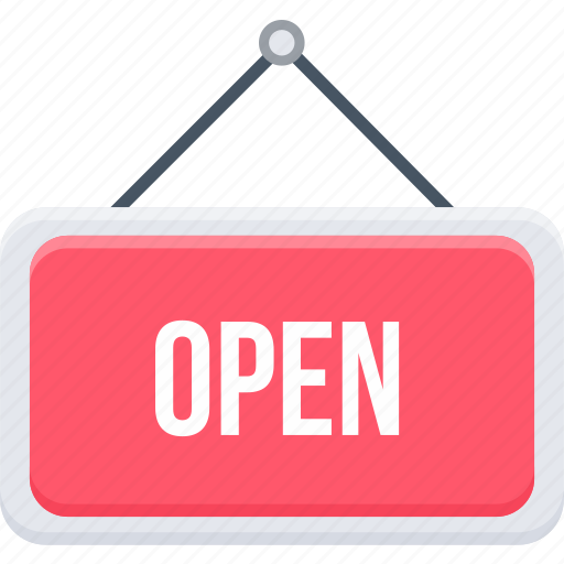 board, business, market, open, shop, sign, store icon