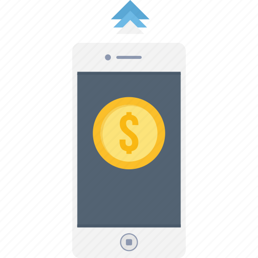 card, mobile, money, payment, send, sending, smartphone icon