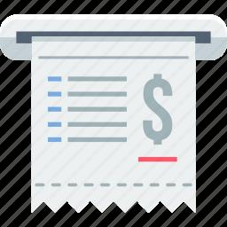 account, atm, bill, invoice, mini statement, receipt, statement icon