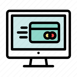 checkout, computer, credit card, display, fast, payment, shopping icon