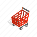 basket, handle, interest, isometric, new, shopping, wheels icon
