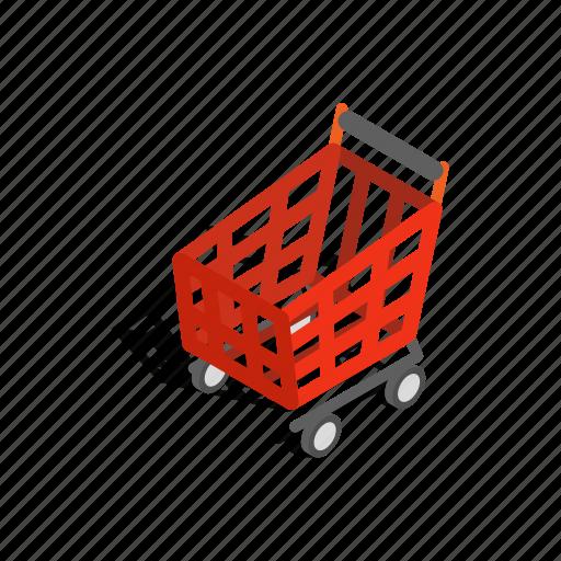 basket, handle, interest, isometric, new, shopping, wheels icon